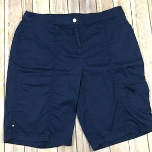 Zenergy Chico's Cargo Bermuda Shorts Navy Blue